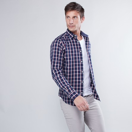 Checked Shirt with Roll Tab Sleeves and Curved Hem