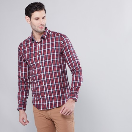 Checked Shirt with Curved Hem and Long Sleeves