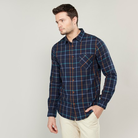 Checked Shirt with Patch Pocket and Roll-Up Tab Sleeves