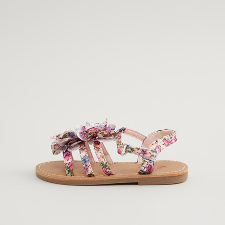 Floral Printed Sandals with Hook and Loop Closure
