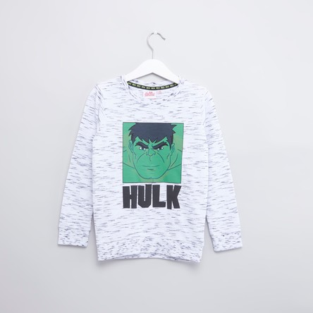 Hulk Printed Sweatshirt with Round Neck and Long Sleeves