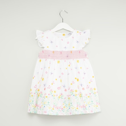 Floral Print Smocked Dress with Cap Sleeves