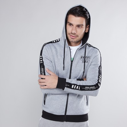Hooded Sweatshirt with Long Sleeves and Zip Pockets