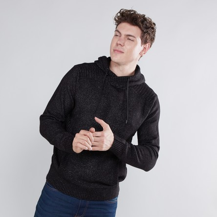 Textured Sweater with Kangaroo Pockets and Hood