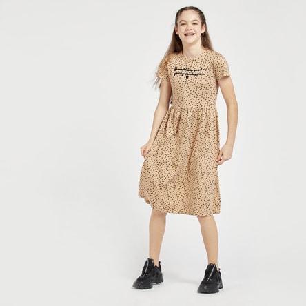 فستان بتفاصيل مُطرّزة مع ياقة مستديرة وأكمام قصيرة