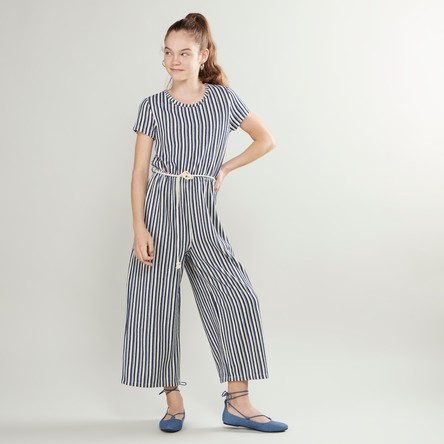 Striped Jumpsuit with Short Sleeves and Cord Belt