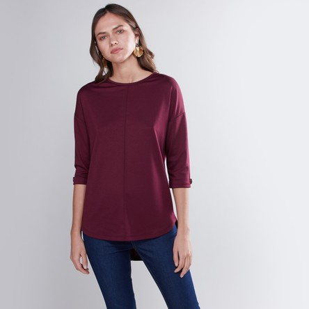 Plain T-shirt with 3/4 Sleeves and High Low Hem