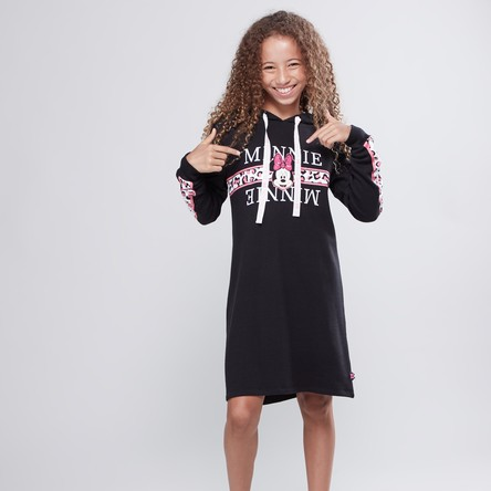 Minnie Mouse Printed Dress with Long Sleeves and Hood