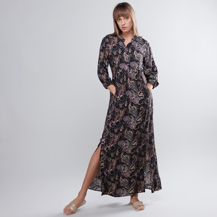 Printed Maxi A-line Dress with Long Sleeves and Pocket Detail