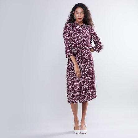 Animal Print Midi Shirt Dress with Tie Up