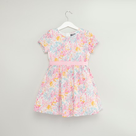 Floral Printed Dress with Short Sleeves and Tie Ups