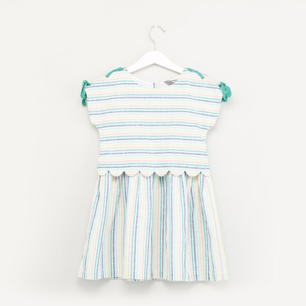 Striped 2-in-2 Dress with Round Neck and Cap Sleeves