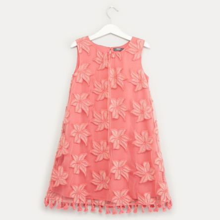 Embroidered Sleeveless Dress with Round Neck and Tassels