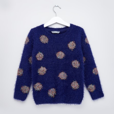 Polka Dot Textured Round Neck Sweater with Long Sleeves
