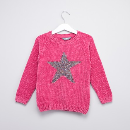 Star Embellished Sweater with Round Neck and Long Sleeves