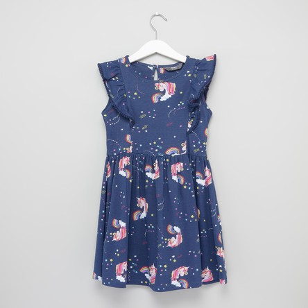 Unicorn Printed Sleeveless Dress with Round Neck