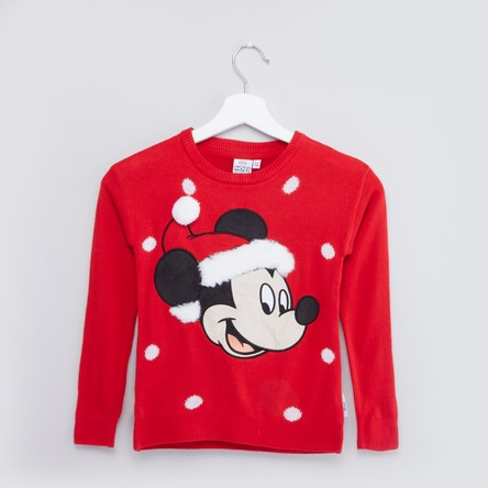 Mickey Mouse Printed Sweater with Long Sleeves