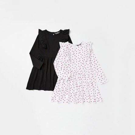 Pack of 2 - Assorted Dress with Ruffle Detail and Long Sleeves