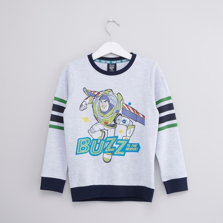 Toy Story Printed Sweatshirt with Round Neck and Long Sleeves