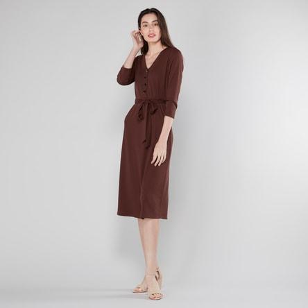 Plain Midi Dress with V-neck and 3/4 Sleeves