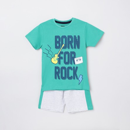 MAX Printed Crew Neck T-shirt with Elasticated Shorts