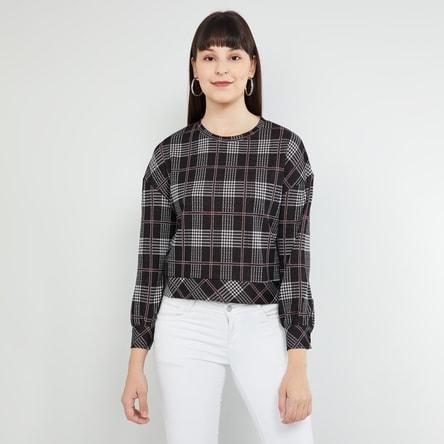 MAX Checked Full Sleeves Sweatshirt