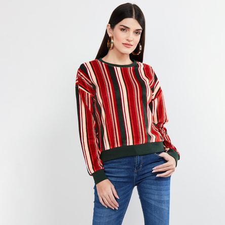 MAX Striped Full Sleeves Sweatshirt