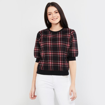 MAX Checked Sweatshirt with Short Sleeves
