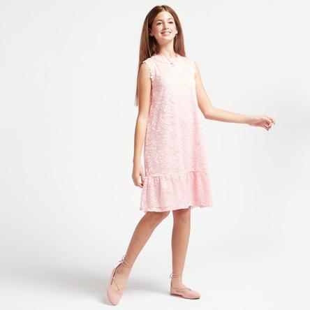 فستان متعدد الطبقات بطول الركبة بياقة عالية وتفاصيل دانتيل