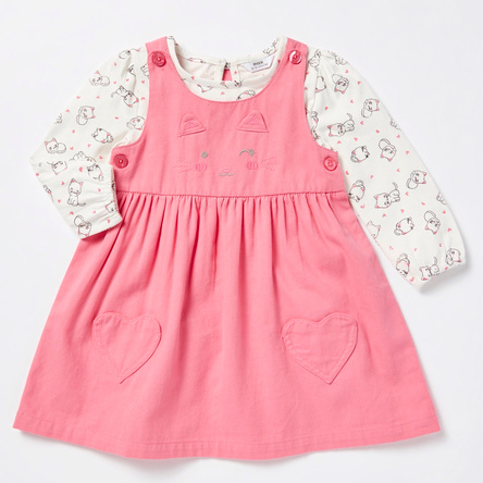 Cat Applique Pinafore Dress with Printed Long Sleeves T-shirt