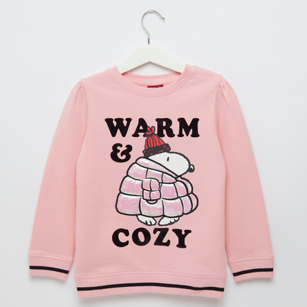 Snoopy Graphic Print Sweat Top with Round Neck and Long Sleeves