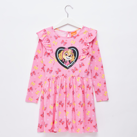 All-Over PAW Patrol Graphic Print Midi Dress with Frill Detail