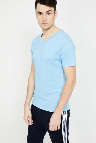 BOSSINI Solid V-neck T-shirt