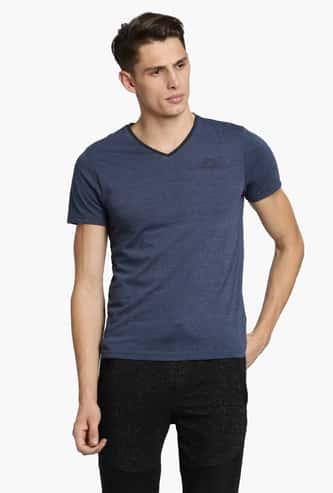 KAPPA Regular Fit Melange Textured V-Neck T-shirt