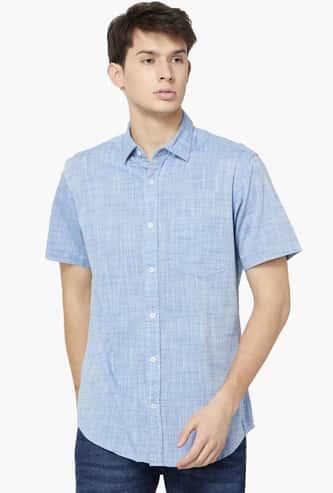 COLORPLUS Slim Fit Slub Weave Casual Shirt