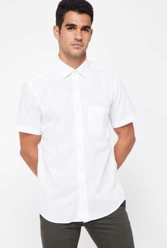 COLORPLUS Slim Fit Solid Half Sleeve Shirt