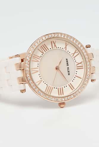 ANNE KLEIN Crystal Encrusted Metal Strap Women's Wristwatch-AK2513WTSV