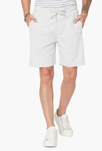 FAME FOREVER Melange Drawstring Waist Knitted Shorts