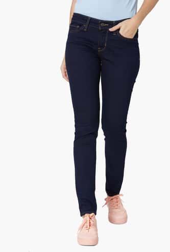 LEVI'S Dark Washed 711 Skinny Fit 5-Pocket Jeans