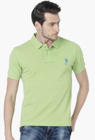 U.S. POLO ASSN Regular Fit Solid Polo Neck T-shirt