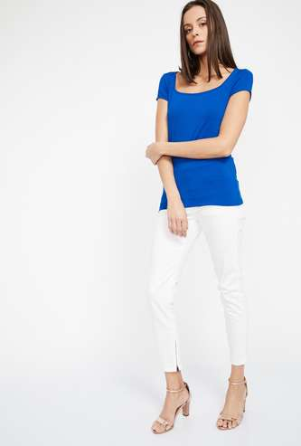 CODE Solid Square Neck Top