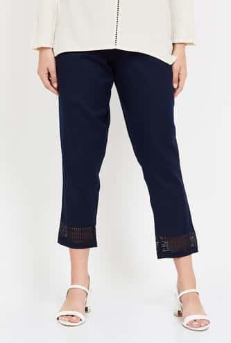 MELANGE Women Solid Elasticated Straight Pants