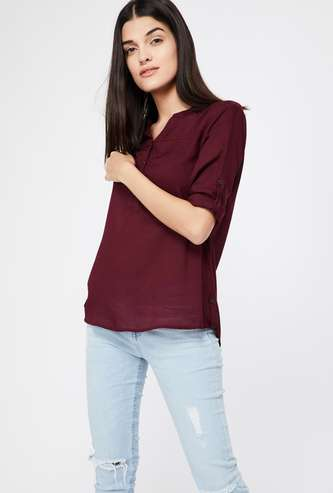 BOSSINI Solid Roll-Up Sleeve Top