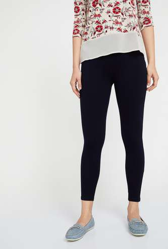 CODE Solid Elastic Waist Knitted Treggings