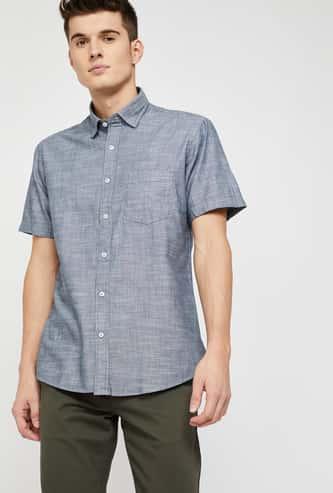 COLORPLUS Slim Fit Short Sleeve Slub Shirt