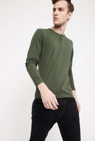BOSSINI Solid Regular Fit Henley T-shirt