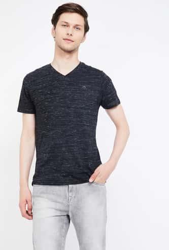 BOSSINI Heathered V-neck Regular Fit T-shirt