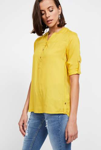 BOSSINI Solid Rolled-Up Sleeve Top