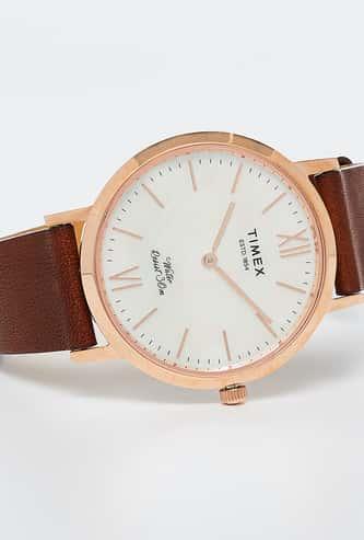TIMEX Brown Leather Ladies Wristwatch-TWEL12603