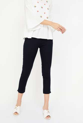 W Solid Cropped Pants